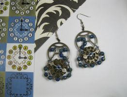A Clockwork Day - Beaded Steampunk Earrings by DanielleDucrest