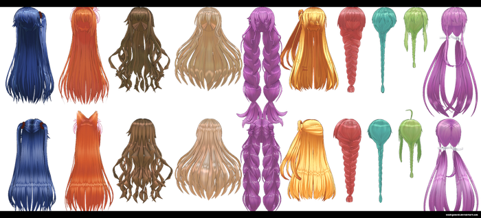 Long Hair pack 1 by kaahgomedl