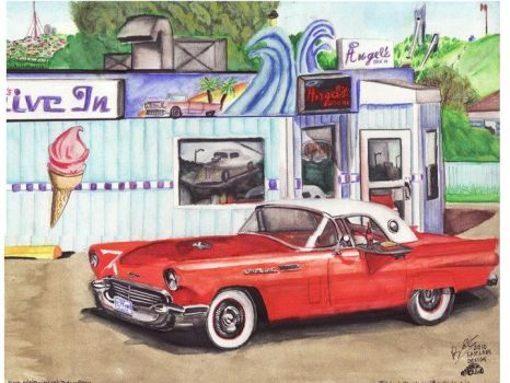 1957 Red Ford Thunderbird by FastLaneIllustration