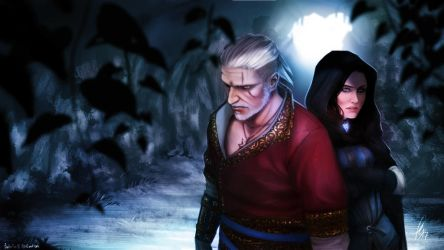 Geralt and Yen by Falballa