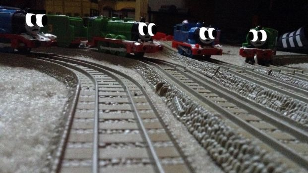 Thomas, Percy, Henry, and Gordon at the sheds by ChrisG09