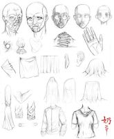 Study: faces and fabric by The-Nai