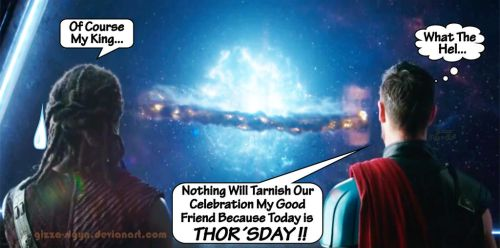 Thorsday W Heimdall Victory Celebrations Thanos By by Gizza-Sigyn