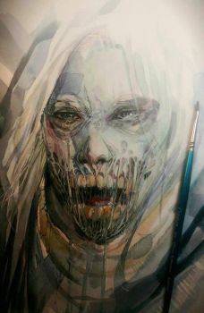 Character Study - Watercolor - Horror by dreamflux1