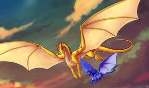 Commission: Flight at Sunset by Angel-soma