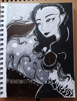 Ink drawing for Mermay by meowkitty17