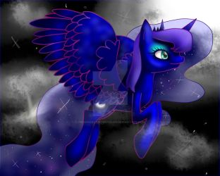 Princess Luna Flying REDRAW 100 WATCHER SPECIAL by TechnicalTechnicolor