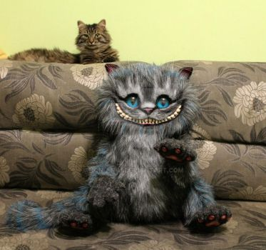 My real cat and my handmade work Cheshire Cat by hon-anim