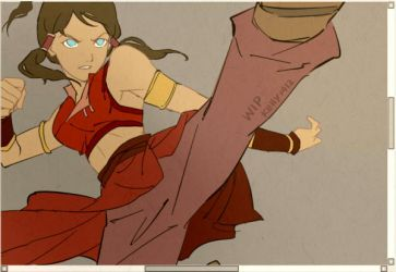 WIP_ Korra in fire nation outfit by kelly1412