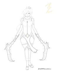 [RWBY OC] Ivori Levina - lineart (UPDATED) by JTruth9419