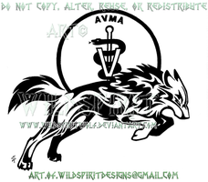 Veterinary Shield Tribal Wolf Design by WildSpiritWolf