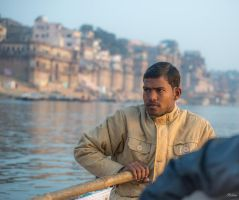 Incredible India - over the shoulder Ganges rower by Rikitza