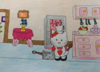 Hello kitty cooking by dragonpriness
