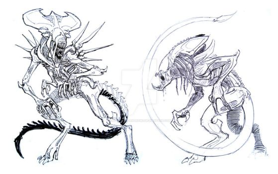 Alien sketch duo by Art-Minion-Andrew0