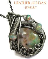 Australian and Ethiopian Opal Necklace in Sterling by HeatherJordanJewelry