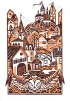 Owl`s wings above the town by kiallay