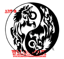 Yin-Yang Wolves Frisbee Design by WildSpiritWolf