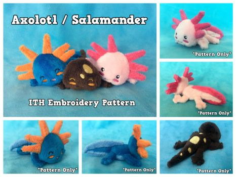 Axolotl Salamander ITH Embroidery Pattern by equinepalette
