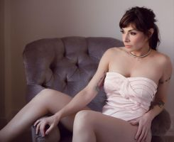 Pink bustier and Grey chair by Anyssa