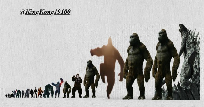 All King Kong Incarnations Size Comparisons (Est.) by kingkong19100
