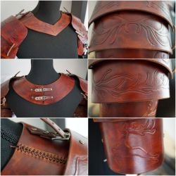 Leather LARP shoulder armour by talkenia