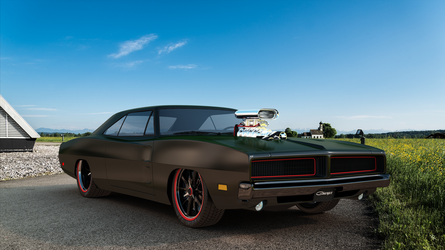 Dodge Charger 1969 3/4 frontal view by bacarlitos