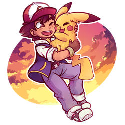 a boy and his pikachu by miz-dee