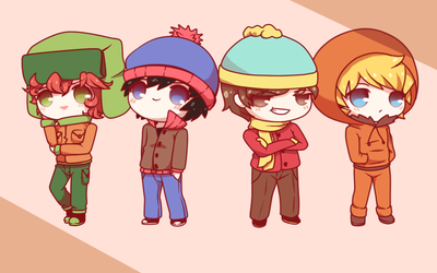 Kyle, Stan, Eric and Kenny by Koki-arts
