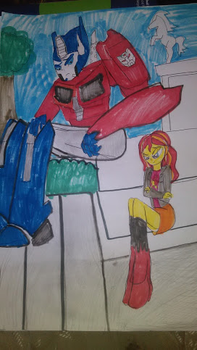 Optimus Prime talks with Sunset Shimmer by CasanovaGuy01