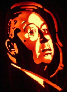 Alfred Hitchcock on pumpkin by kenklinker