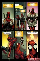Deadpool dresses for Spidey by NotWolverine