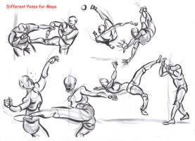 fighting poses for maya09 by AlexBaxtheDarkSide