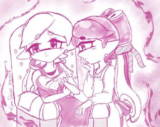 Squid sisters :Not too fast little one: by kiraradaisuki
