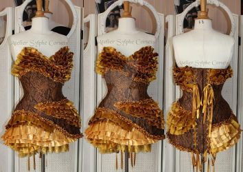 Reptil'mode corset dress with gold satin ribbons by AtelierSylpheCorsets