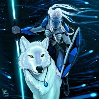 Elf with white wolf by neptune82