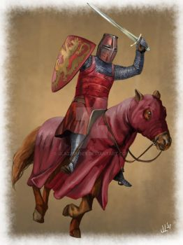 Red Cavalry Knight by JLazarusEB