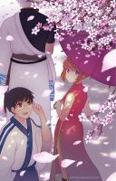 Gintama - Cherry Blossoms by vandraws