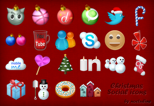 Christmas Social Icons by Noctuline