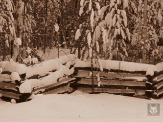 Snowy Fence In Sepia by wolfwings1