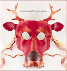 Asian Dragon mask, red and gold by EirewolfCreations