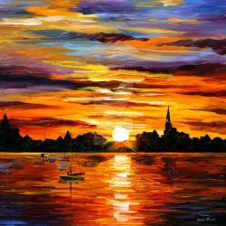 Corsica - sunset by Leonid Afremov by Leonidafremov