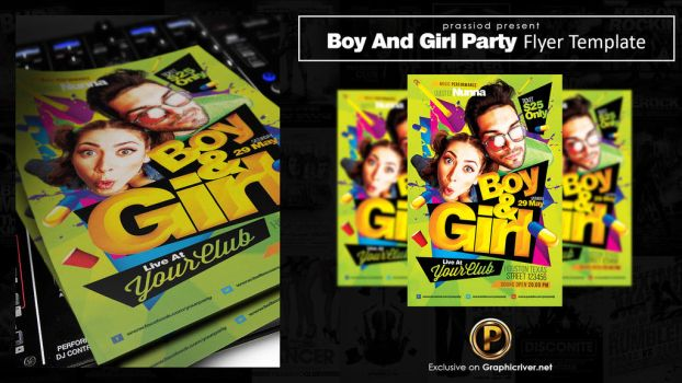 Boy And Girl Party Flyer Template by prassetyo