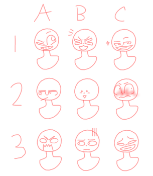 Expressions ych (15 points- Open) by Coco-Glow