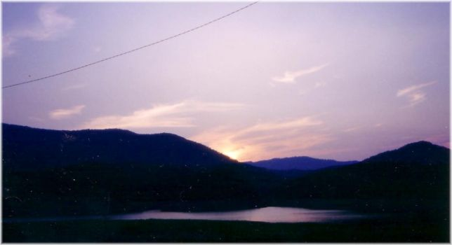 View of a southern sunset by snowcat