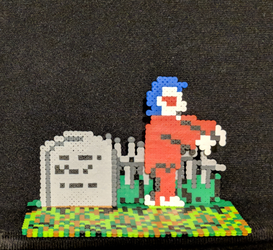 Ghosts n Goblins (NES) minibead tombstone n zombie by monochrome-GS