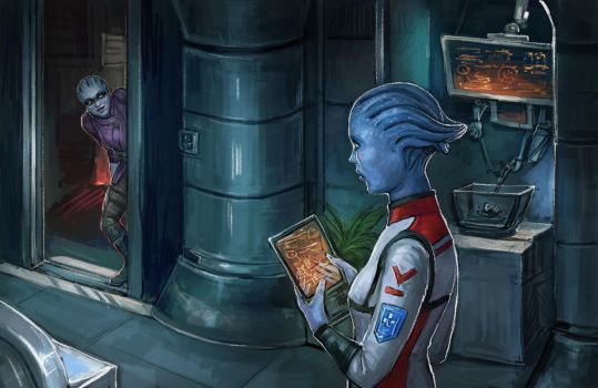 Tempest's Lazy Day - Peebee and Lexi by DancinFox