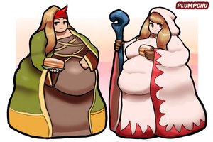Fat White Mage and Summoner - FF Tactics WG by Plumpchu