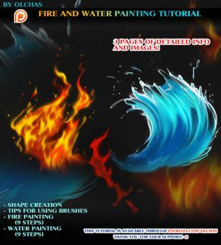 Fire and Water painting tutorial preview by OlchaS