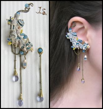 Ear cuff and stud Town of forgotten dreams by JuliaKotreJewelry