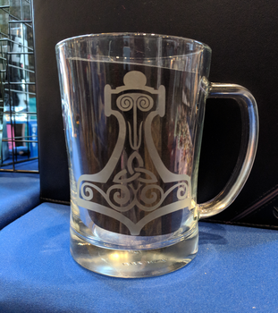 Mjolnir Etched Glass Mug by VikingSheep